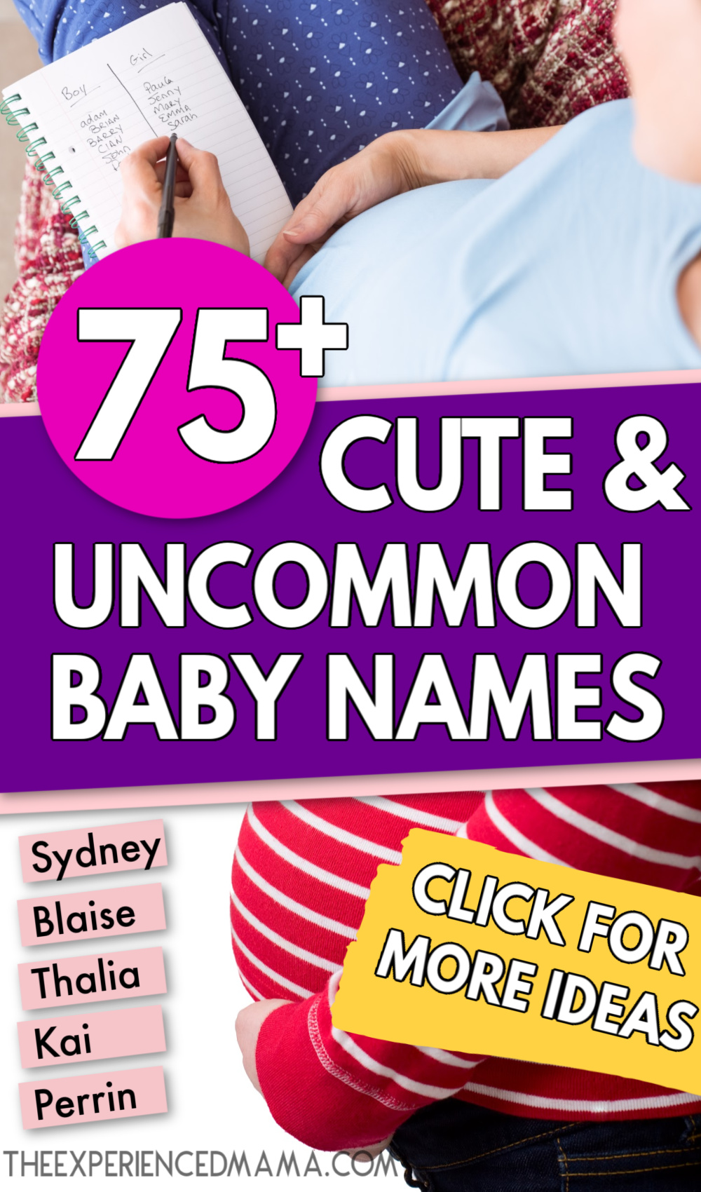 list of cute and unique baby names next to pregnant mom's baby bump