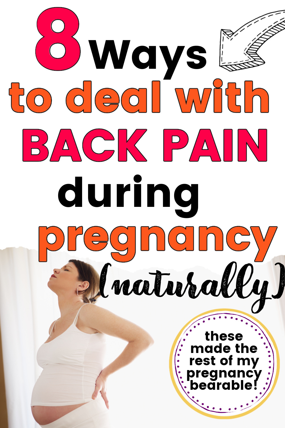 pregnant woman in pain and holding aching back
