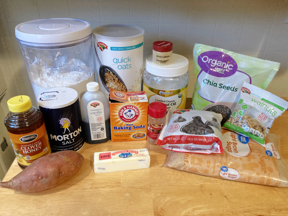 all ingredients for oatmeal lactation cookies with oats, fenugreek, dark chocolate