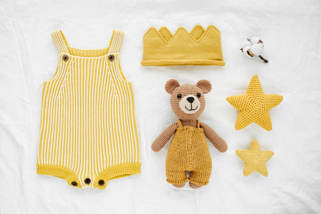 non-binary, gender neutral yellow baby items